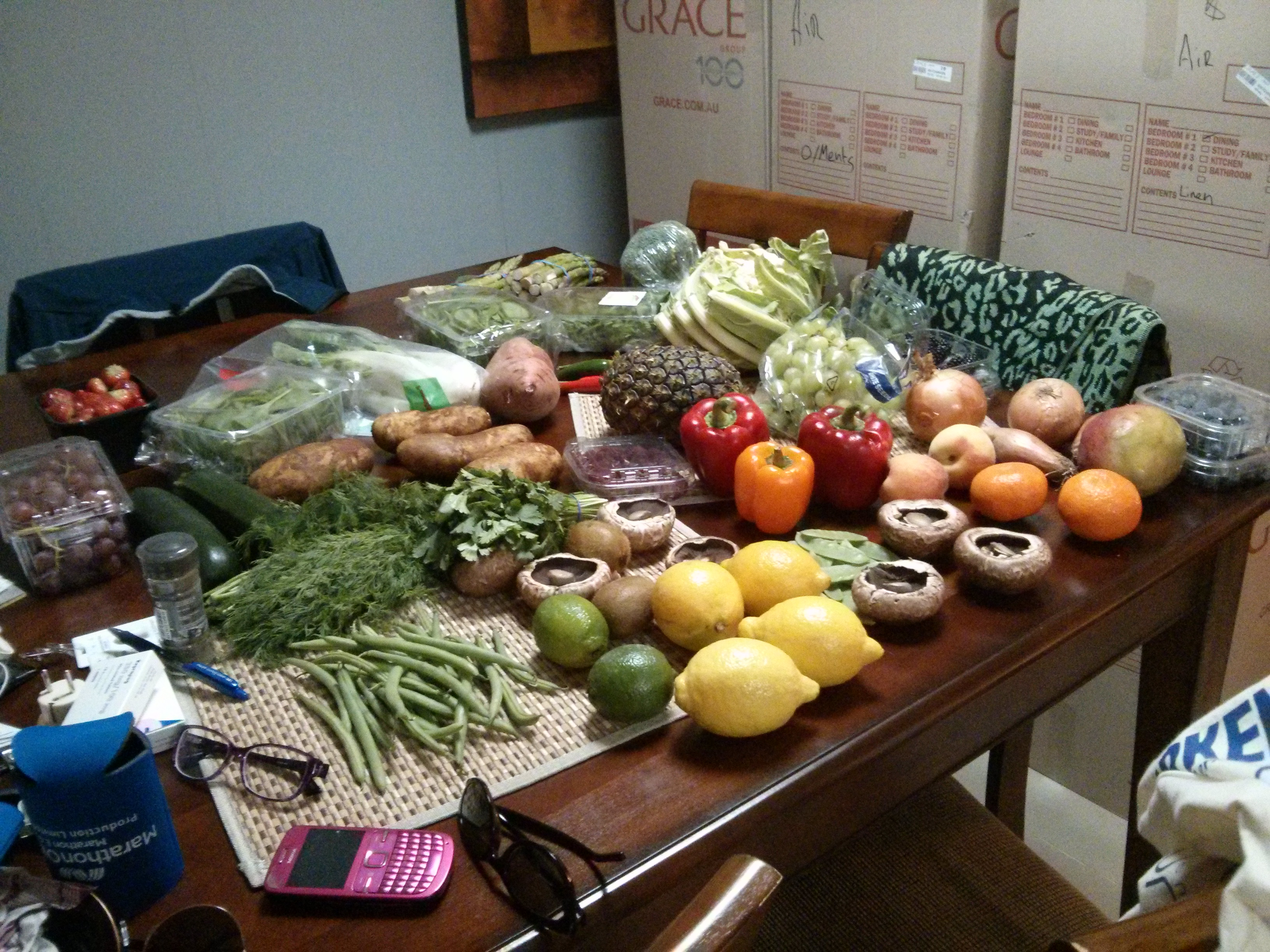 Our spoils following my first fresh food drop.