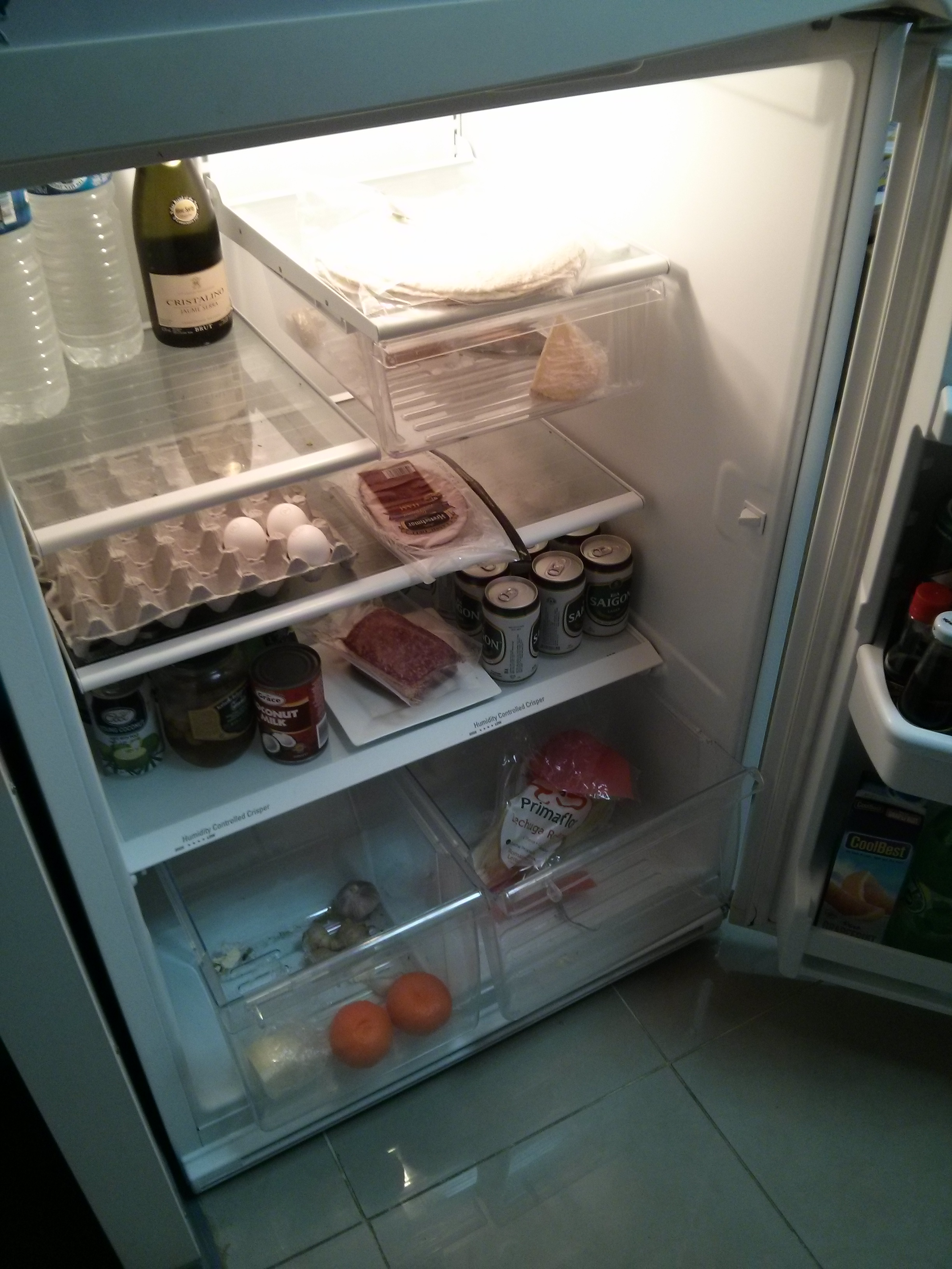 The state of our fridge pre- food drop.