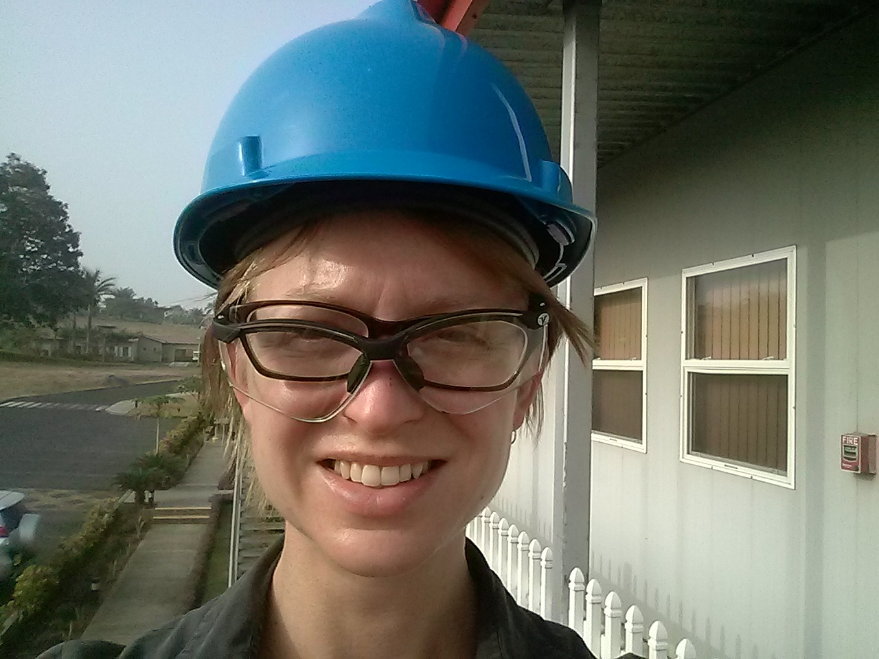 All kitted up in the hard hat and safety glasses!