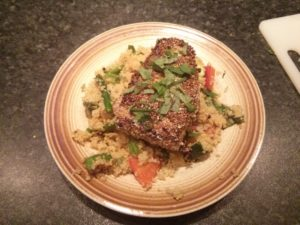 Thursday Dinner - Sesame-encrusted Tuna on Quinoa and Veggies