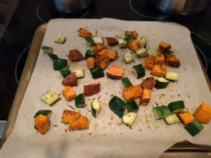 Sweet potato & zucchini roasted
