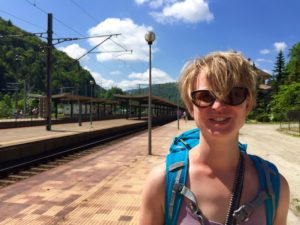 Backpacking through Sinaia Train Station in Romania