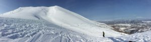 The summit of Niseko mountain on a blue bird day